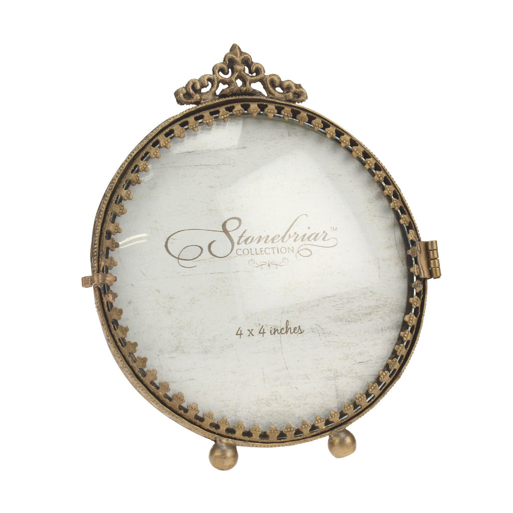 Ornate round convex glass brass frame briarwood ornate round convex glass brass frame jeuxipadfo Images