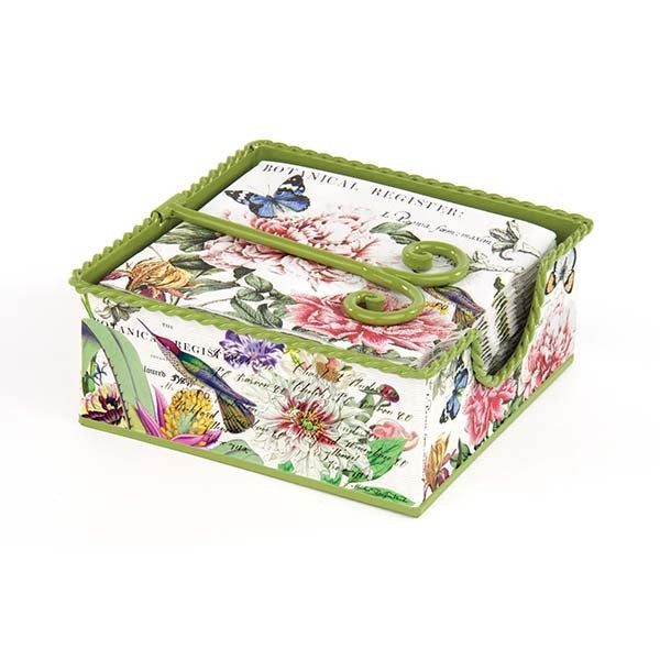 Peony Tin Cocktail Napkin Holder Gift Set