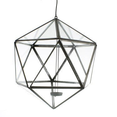 Pierre Hanging Leaded Glass Luminaria - Icosahedron - Zinc Antique