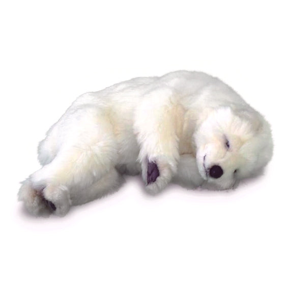 Sleeping Stuffed Polar Bear Cub by Hansa