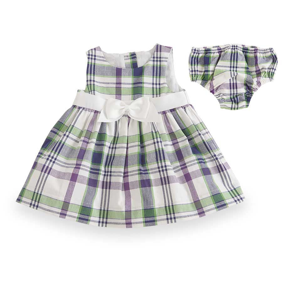 Purple + Green Plaid Gingham Empire Dress with Bloomers