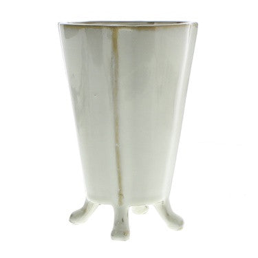 Rue Footed Ceramic Vase - Medium - Fancy White