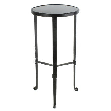 Savoy Iron + Stone Side Table - Black with Grey Stone