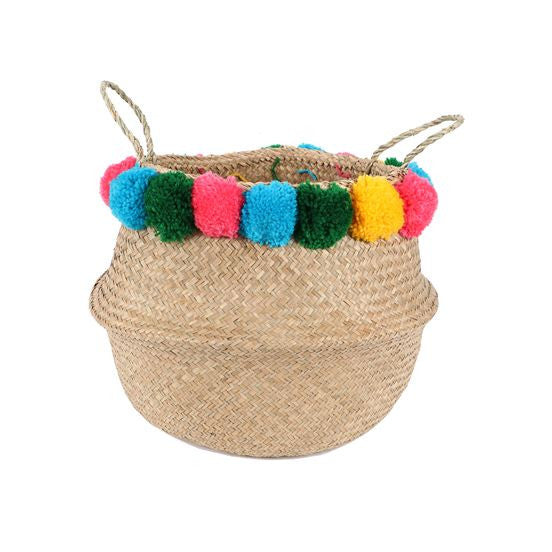 Seagrass Pom Pom Baskets + 2 Sizes