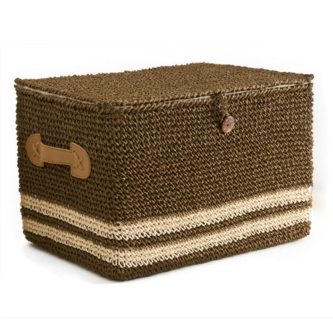 Chocolate Brown Sisal Lidded Nesting Baskets
