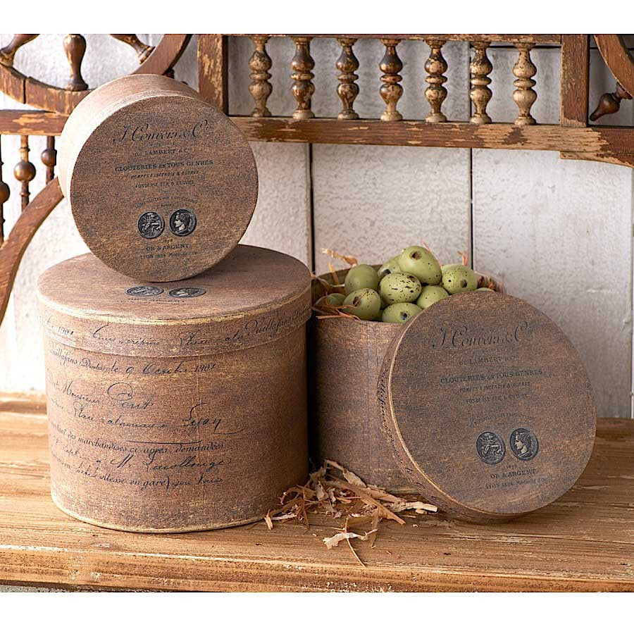 Round Brown Nesting Hat Boxes with Coin Motif