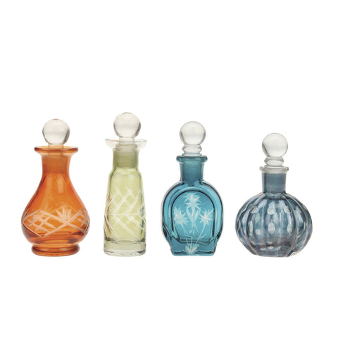 Assorted Color Cut Glass Bottles with Stopper
