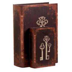 Set of Two Book Boxes with Key Motif