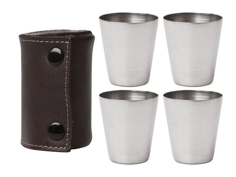 Shot Glasses + Leather Case