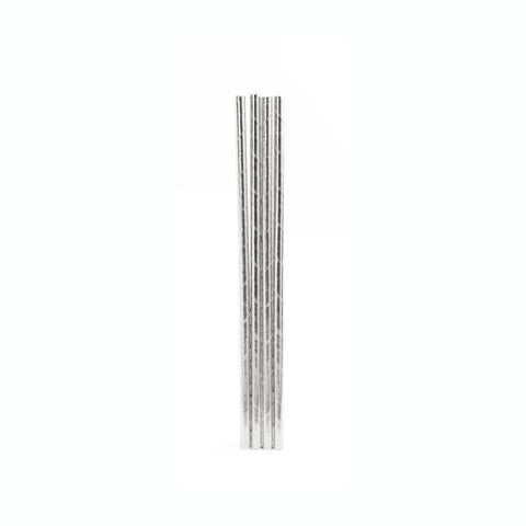 Silver Metallic Straws 144 Per Box