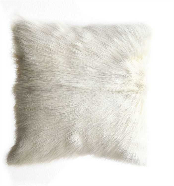 Square Sustainable Goat Fur Pillow, White