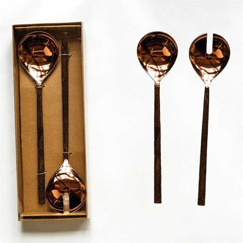 Stainless Steel Salad Server Set, Forged Copper Finish