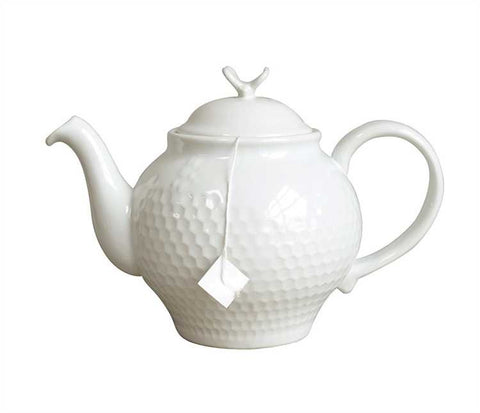 Stoneware Honeycomb Teapot with Bee Finial