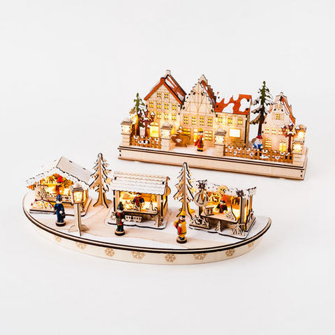 Town Market Lighted Scenes, 2 Styles