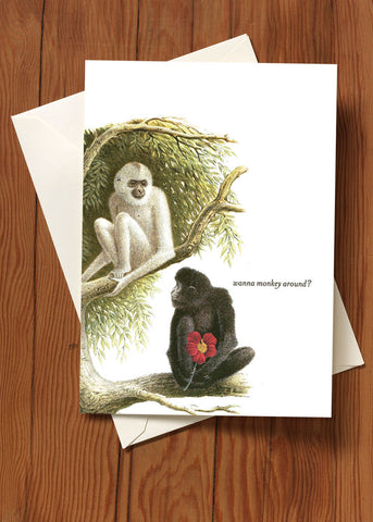 Wanna Monkey Around? Greeting Card + Hand Glittered
