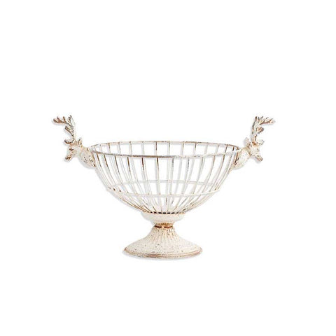 White Metal Bowl with Stag Head Handles