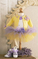 Yellow Cardigan with Light Purple Ribbon Detail