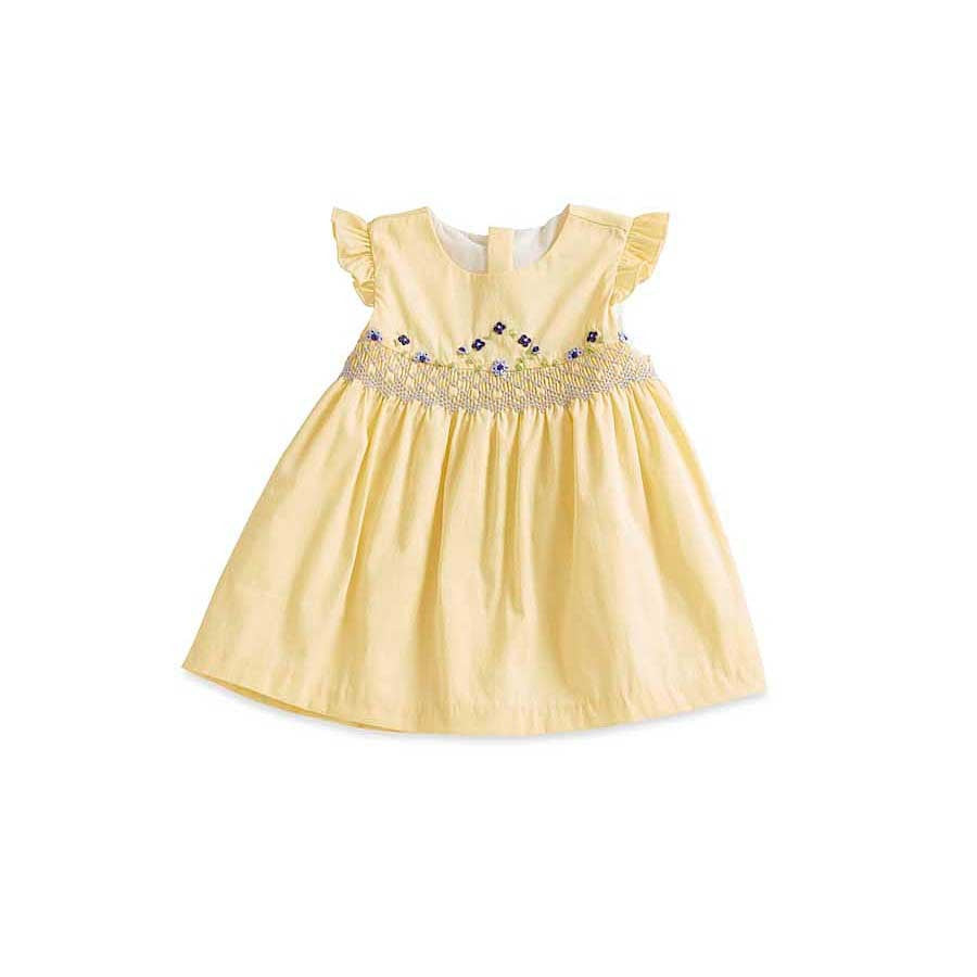 Yellow Dress with Blue + Green Smocking