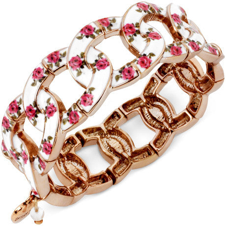 Betsey Johnson Pink Floral Printed Stretch Bracelet