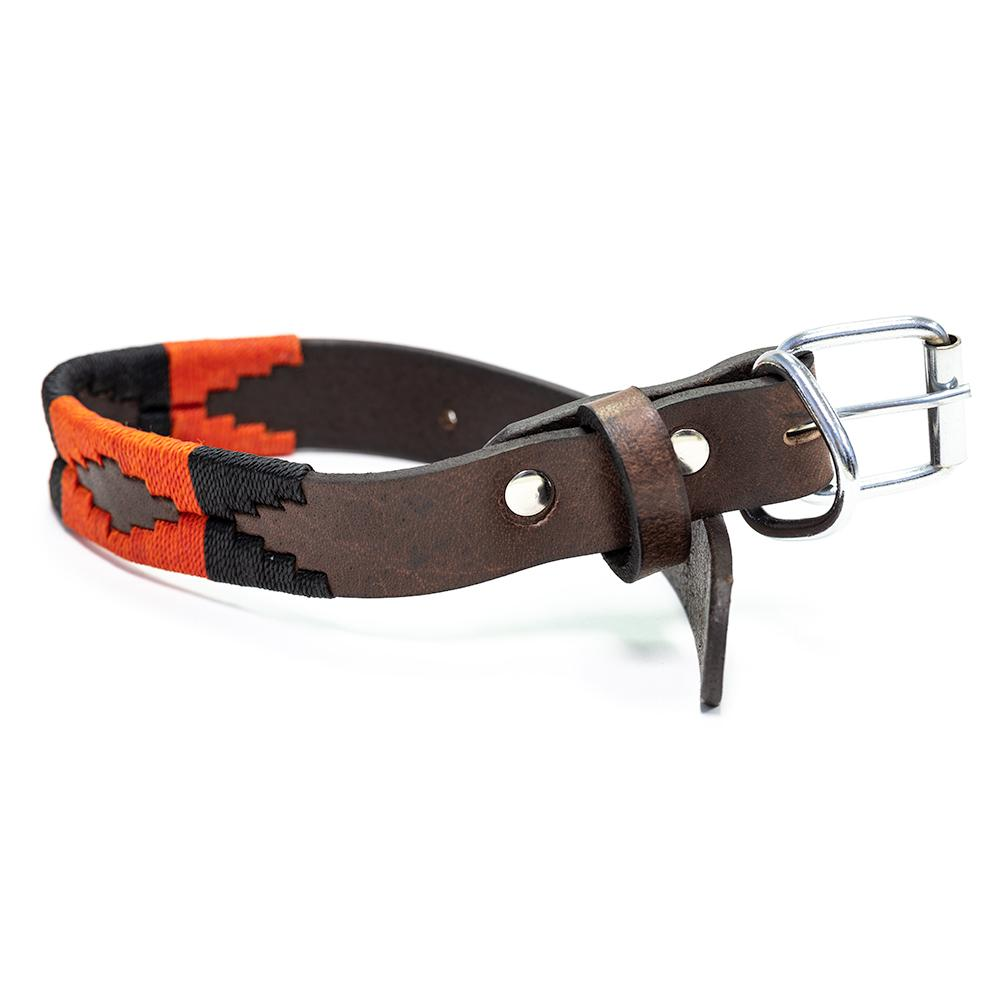 Moab Leather Dog Collar - stitched with Orange and Black colored threads