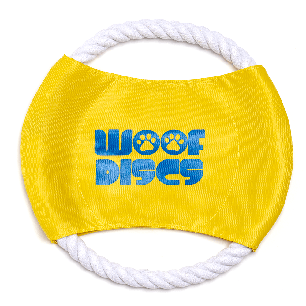 (Yellow) Woof Discs - Flying Rope Disc, Dog Toy, Chewing Frisbee - Gaucho Goods