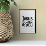 Jesus Coffee & Dog UNFRAMED Print Pet Decor Wall Art