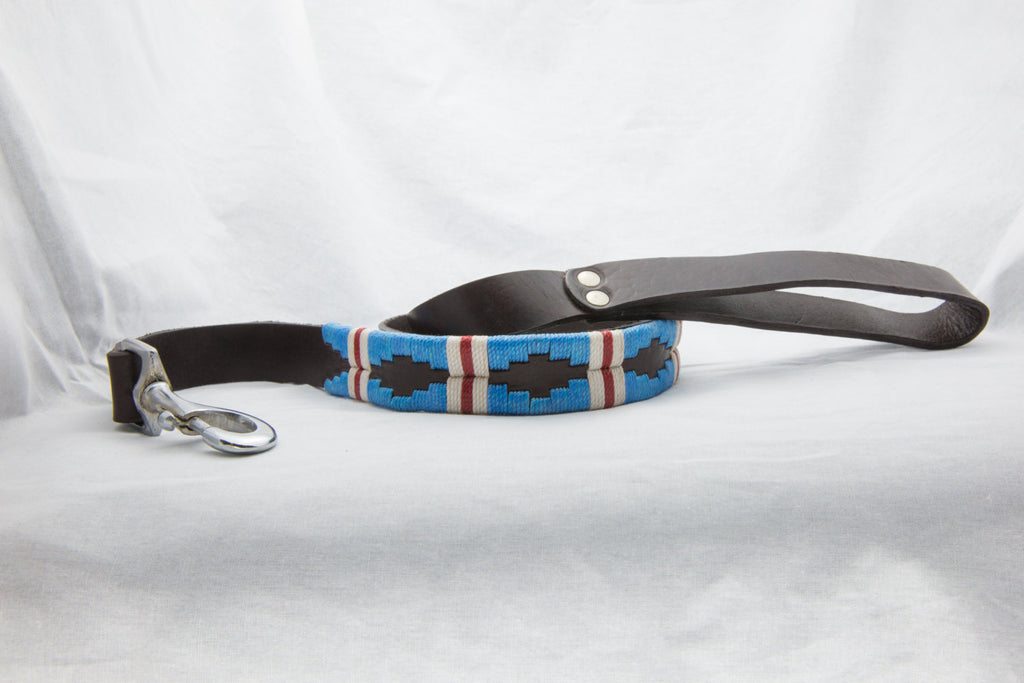 The Pacific Leather Dog Leash - hand-stitched with vibrantly colored wax threads in light blue with a white and red stripe