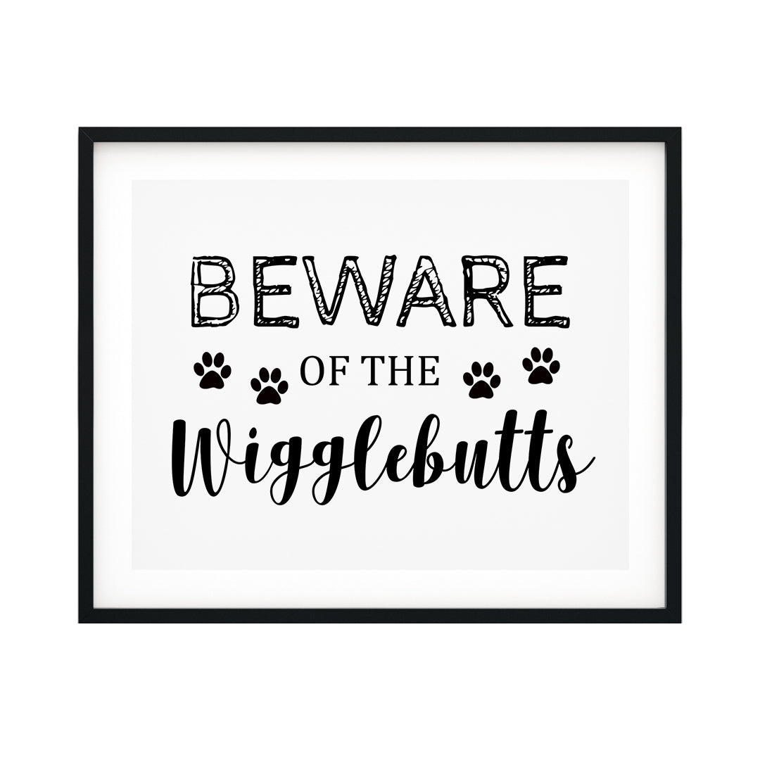 Beware Of The Wigglebutts UNFRAMED Print Pet Decor Wall Art