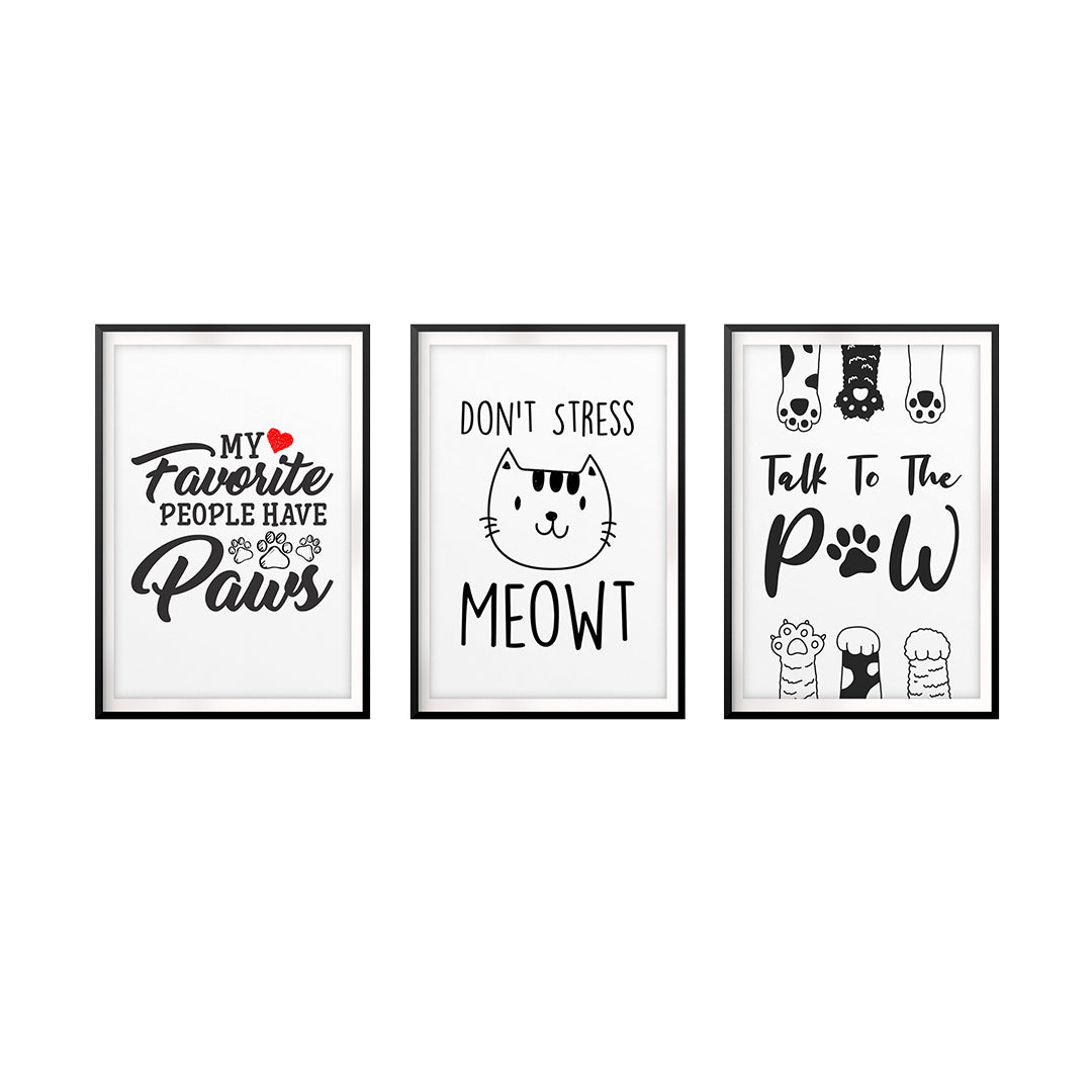 Fun Pet Lover Wall Art UNFRAMED Print (3 Pack)