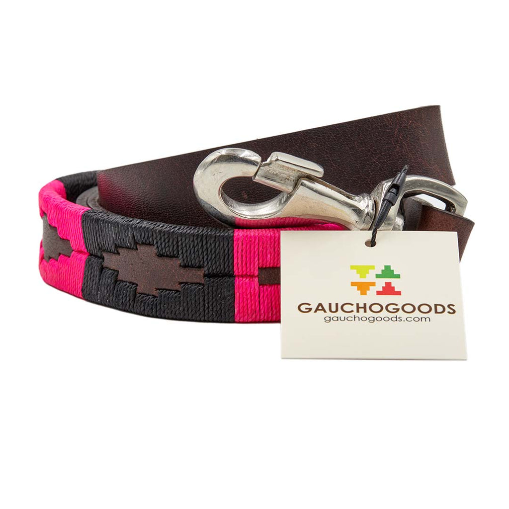Antilles Leather Dog Leash - hand-stitched with vibrantly colored wax threads into premium soft leather