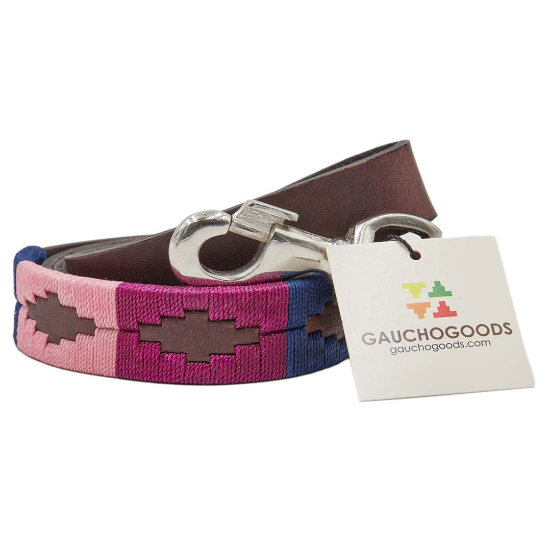 Cali Girl Leather Dog Leash - hand-stitched with soft pink and bright purple colored threads