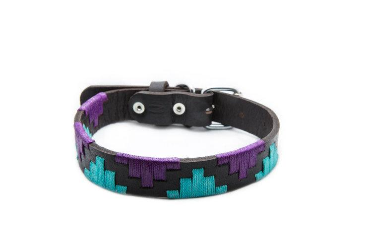 Miami Leather Dog Collar - hand-stitched with purple and turquoise colored threads