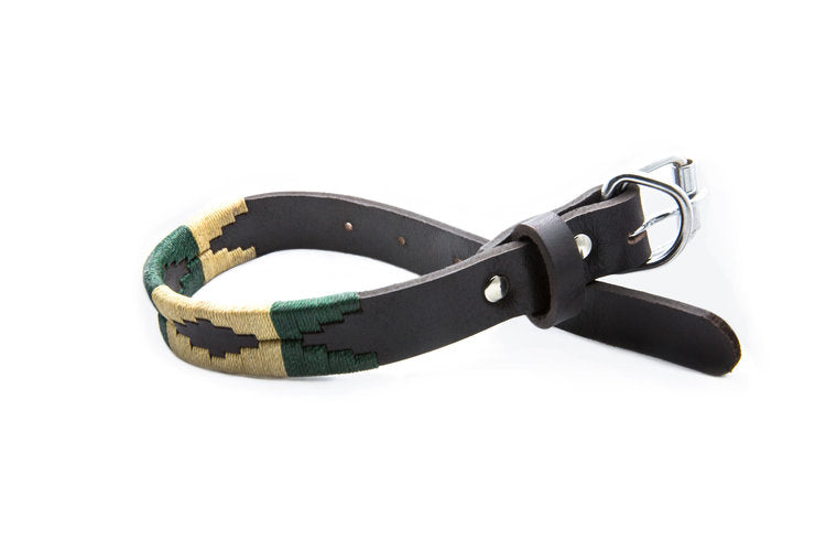 Palm Desert Leather Dog Collar - hand-stitched with dark green and cream wax threads