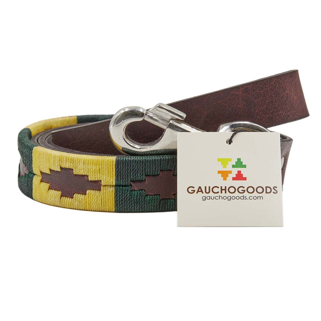 Palm Desert Leather Dog Leash - hand-stitched with dark green and cream wax threads