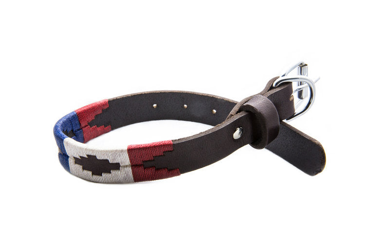 The Patriot Leather Dog Collar - hand-stitched with the distinctive red, white and blue of the American Flag