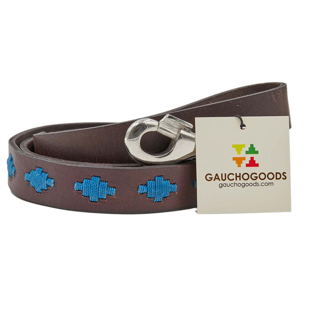 Tahoe Leather Dog Leash - hand-stitched with blue colored diamond wax threads