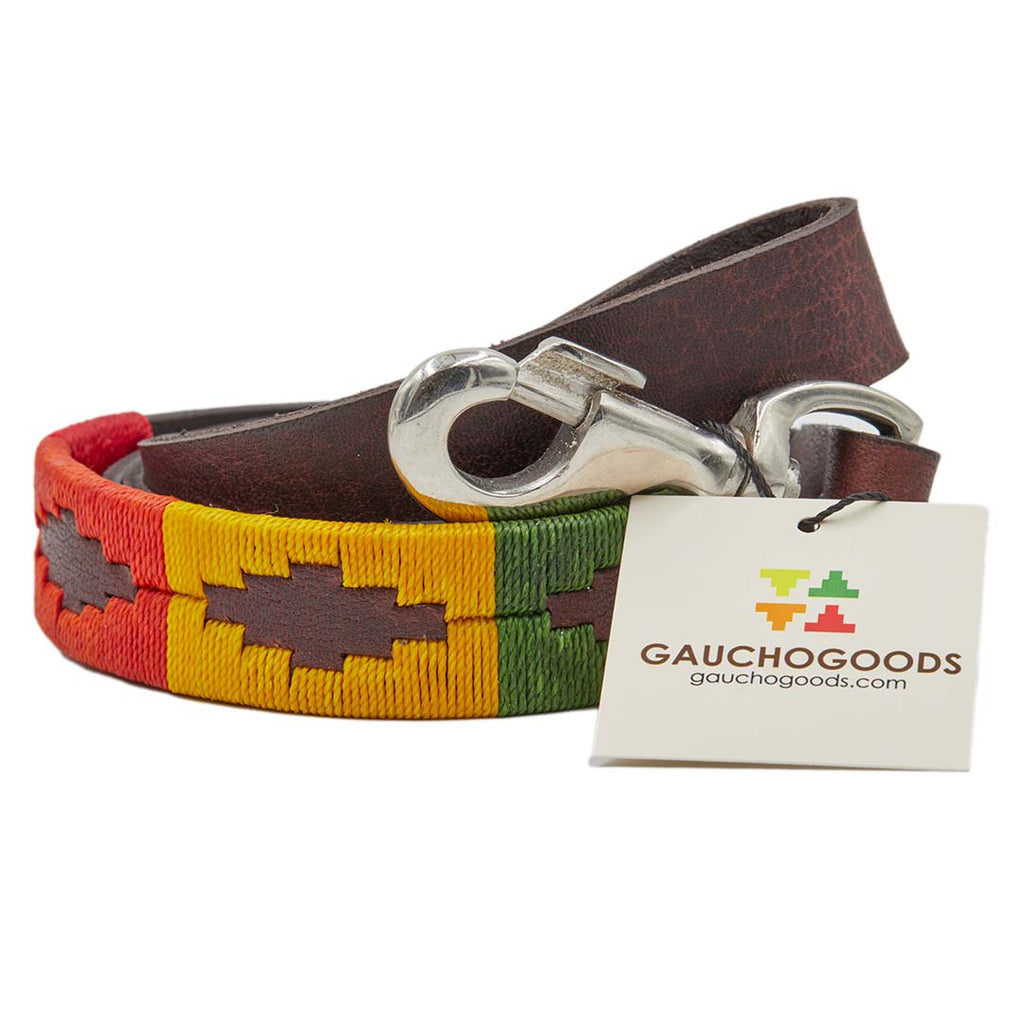 Woodstock Leather Dog Leash - hand-stitched with distinctive Orange, Red, Yellow, Green and Blue wax threads
