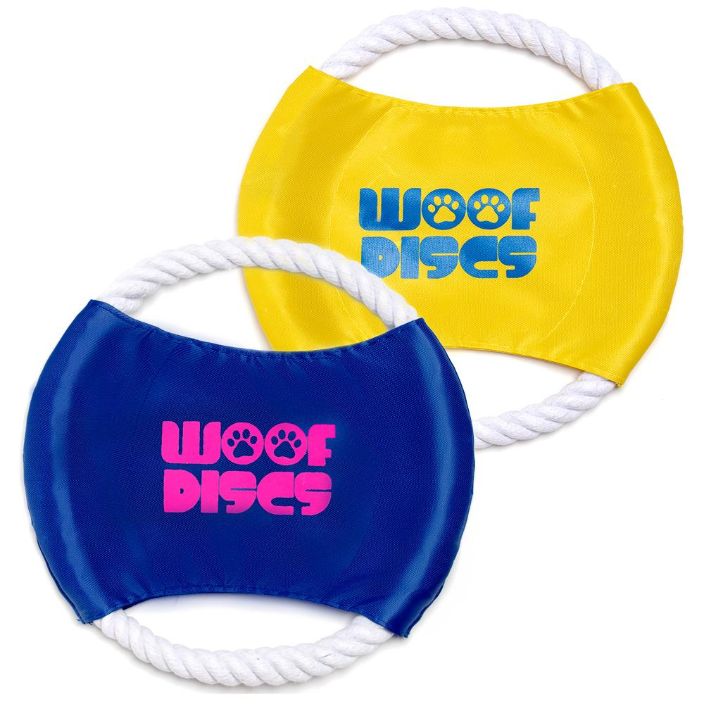 (2 Pack) Woof Discs - Flying Rope Disc, Dog Toy, Chewing Frisbee - Gaucho Goods