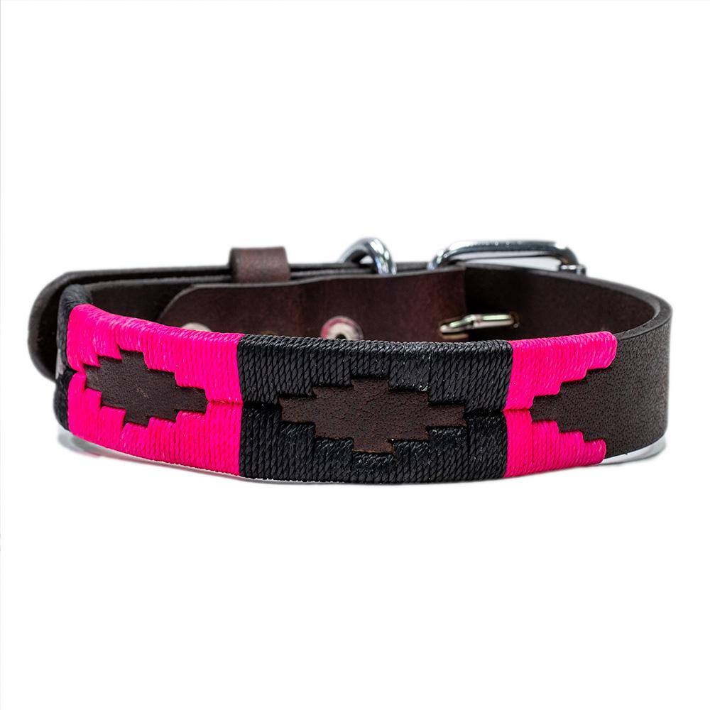 Antilles Leather Dog Collar - stitched with Hot Pink and Black colored threads