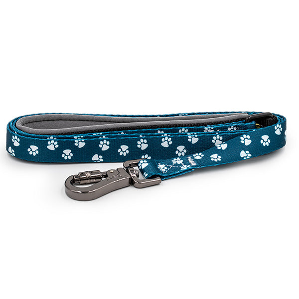 Paws and Pups Durable 6ft Nylon Dog Leash with neoprene padded handle - Dark Teal Paws - Gaucho Goods