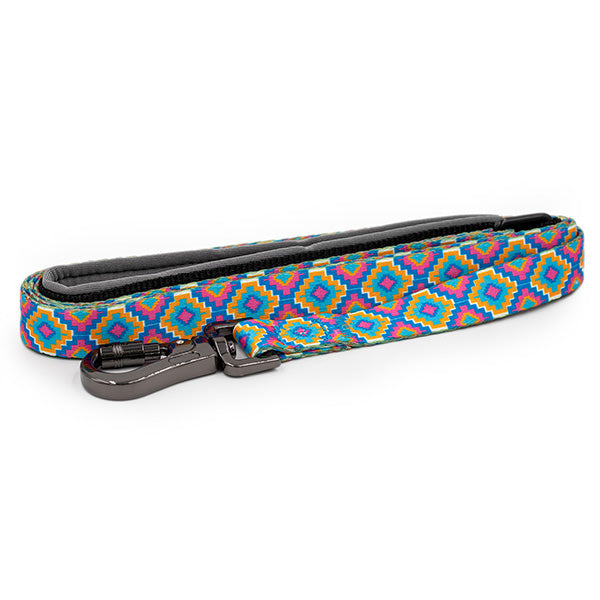 Paws and Pups Durable 6ft Nylon Dog Leash with neoprene padded handle - Geometric - Gaucho Goods