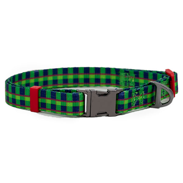 Nylon Dog Collar - Green Tartan