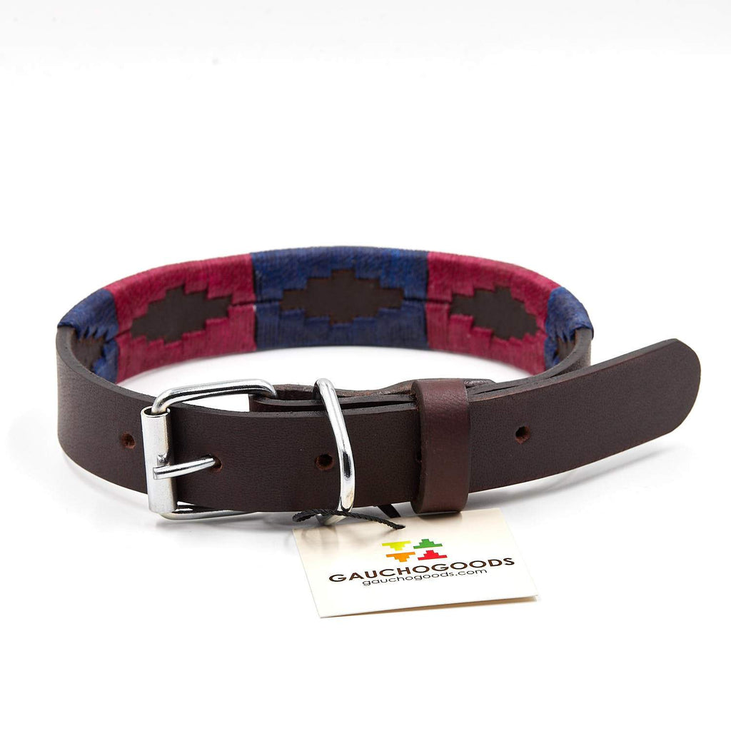 Napa Valley Leather Dog Collar - hand-stitched with purple and navy blue colors