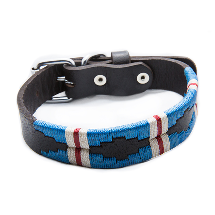 The Pacific Leather Dog Collar - vibrantly colored wax threads in light blue with a white and red stripe