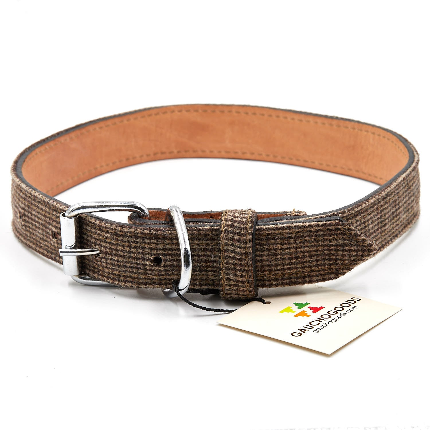 Plaid Leather Dog Collar - stitched with Plaid cotton overlayed
