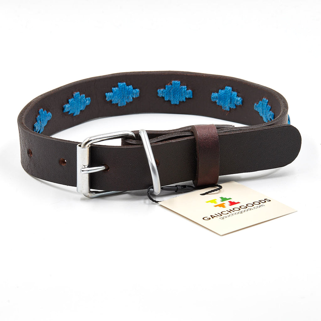 Tahoe Leather Dog Collar - hand-stitched with blue diamond colored wax threads