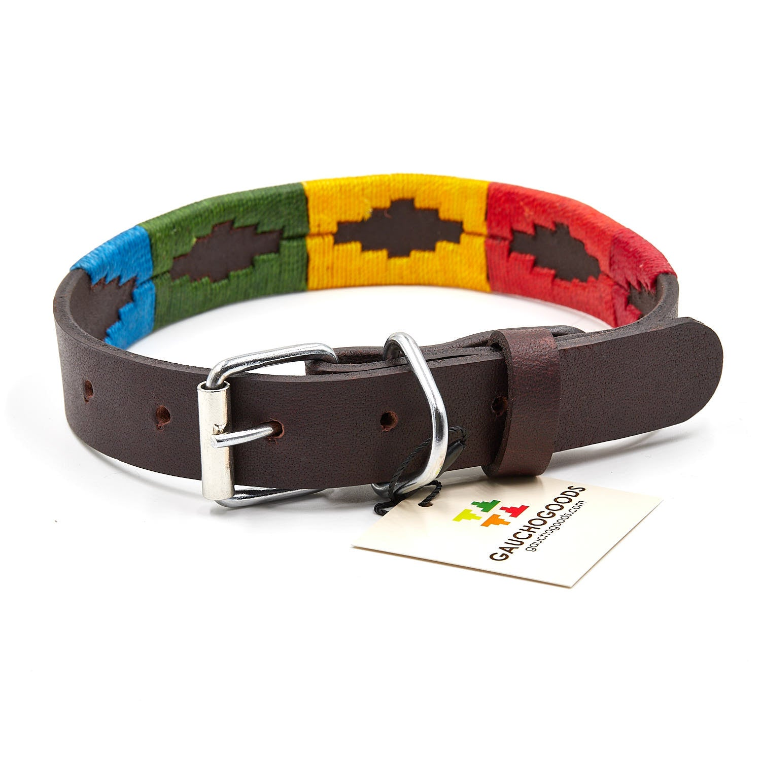 The Woodstock Leather Dog Collar - hand-stitched with the distinctive Orange, Red, Yellow, Green and Blue