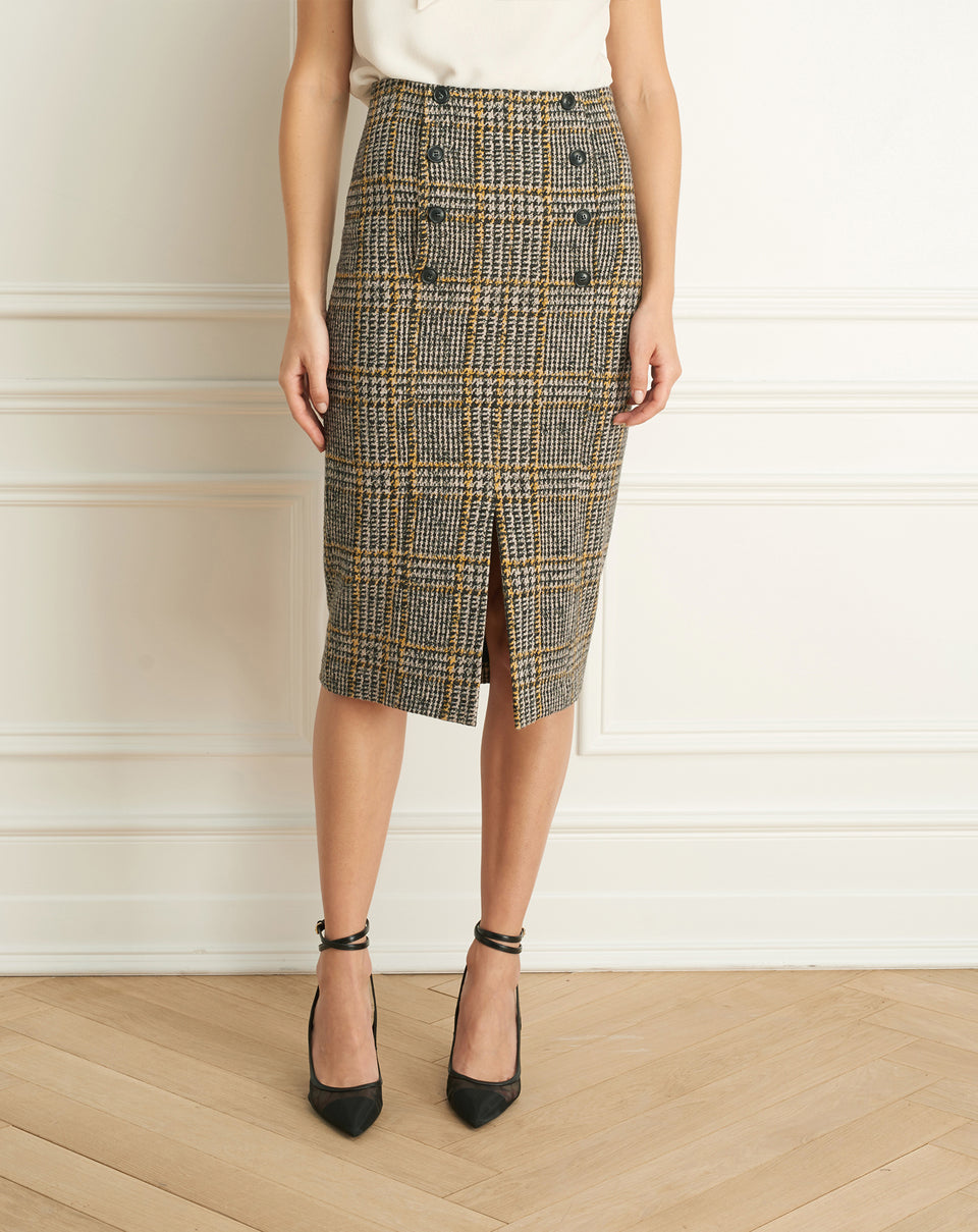 Plaid Skirt With Button Detail