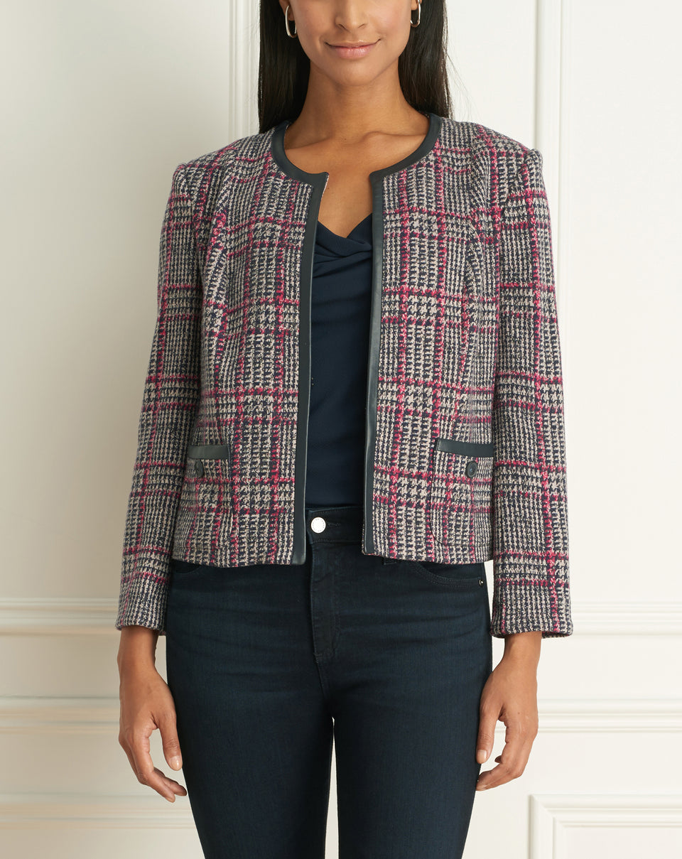 Plaid  Short Jacket With Leather Detail