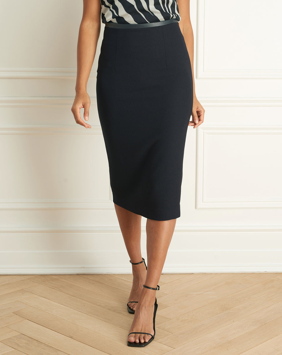 Basket Weave Pencil Skirt Wth Leather Waist